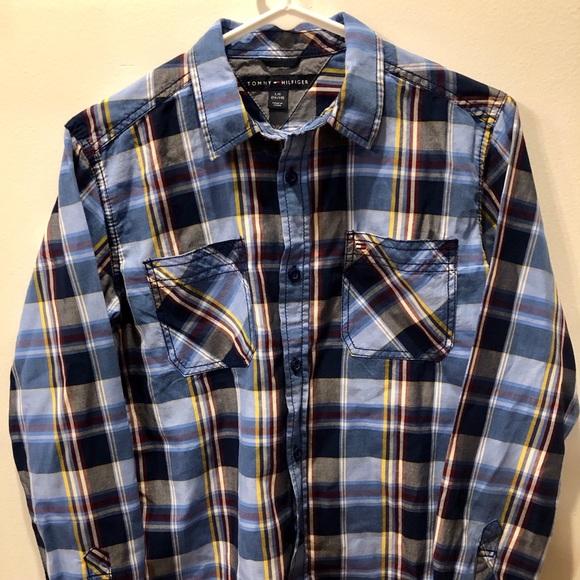 576ff5c5 Tommy Hilfiger Shirts & Tops | Youth L 1618 Blue Plaid Ls Bd Mint ...